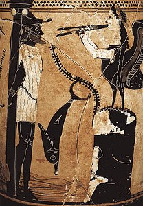 Vase depicting Odysseus and a Siren
