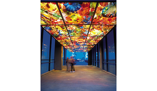 Dale Chihuly's stunning pedestrian bridge at Tacoma's Museum of Glass. Photo: S.M. Leen